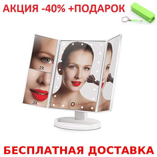 22 LED Magic Make Up Mirror Glossy case Косметическое настольное зеркало для макияжа с подсветкой+Power Bank