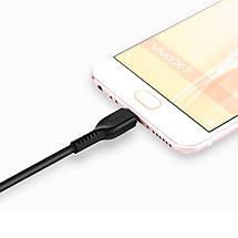 Кабель USB - micro USB Hoco X20, черный, 3 метра, быстрая зарядка 2А, шнур микро юсб для зарядки, фото 3