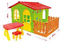 Домик для детей с террассой XXL Mochtoys красный +столик+стульчик -07