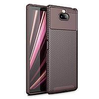 Чехол Carbon Case Sony Xperia 10 Plus Коричневый