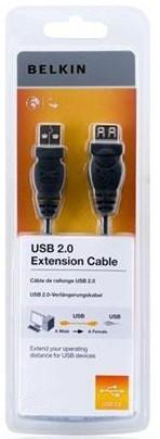 Кабель USB 2.0 (AM/AF) BELKIN 4.8м (подовжувач) Black/Чорний