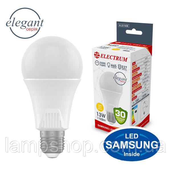 Лампа светодиодная стандартная A65 LS-33 Elegant 13W E27 4000K алюмопл. корп. A-LS-1437