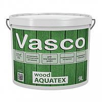 Vasco wood AQUATEX декоративная пропитка для дерева 9л. Прозрачная, белая, в цвете.