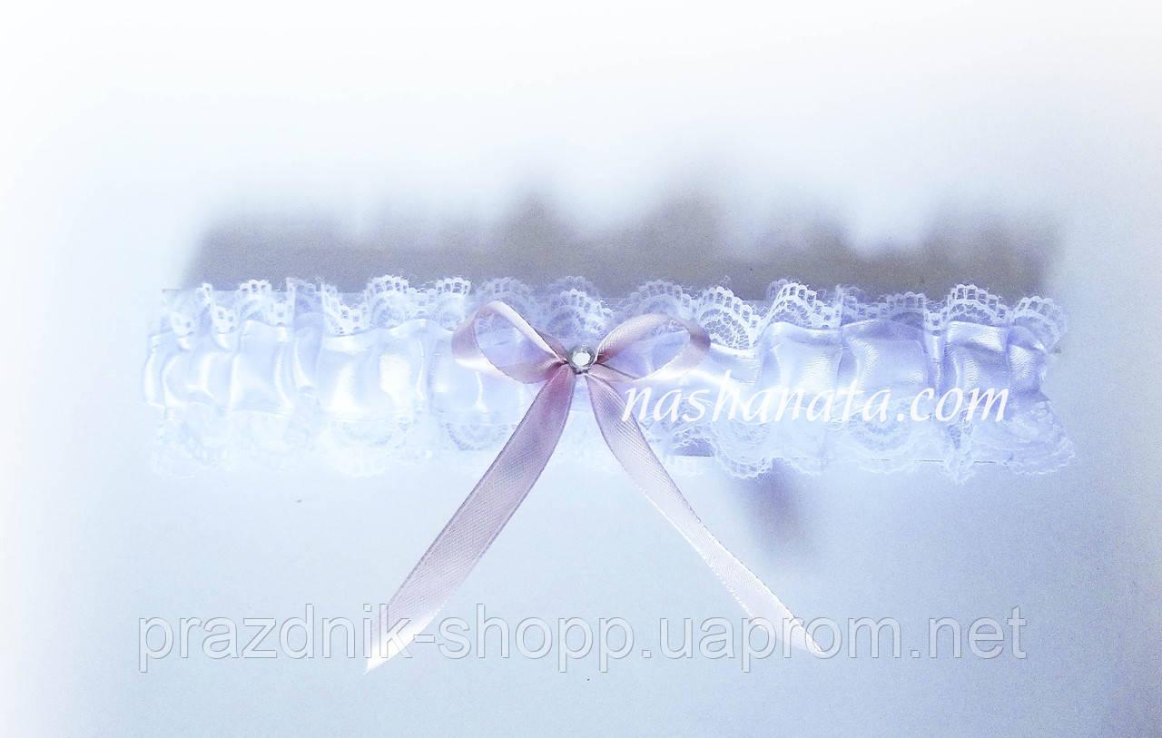 Подвязка кружевная, пудровая.