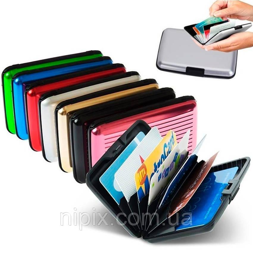 Бумажник для кредитных карт, непромокаемый кошелек Aluma Wallet Алюма Уолет РОЗОВЫЙ цвет