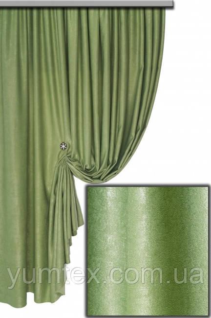 Портьерная ткань велюр (софт), цвет зеленый