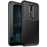Чехол Carbon Case Nokia X6 / Nokia 6.1 plus Черный