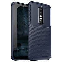 Чехол Carbon Case Nokia X6 / Nokia 6.1 plus Синий