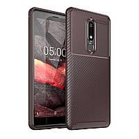 Чехол Carbon Case Nokia 5.1 Коричневый