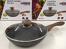 Сковорідка з кришкою 24см гранітне покр. з червоним BENSON BN-538 (8 шт)