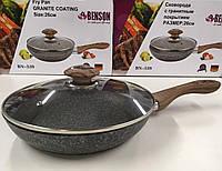 Сковородка с крыкой 26см гранитное покр. с красным  BENSON BN-539 (6 шт)