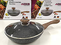 Сковородка с крыкой 24см гранитное покр. с серым  BENSON BN-542 (8 шт)
