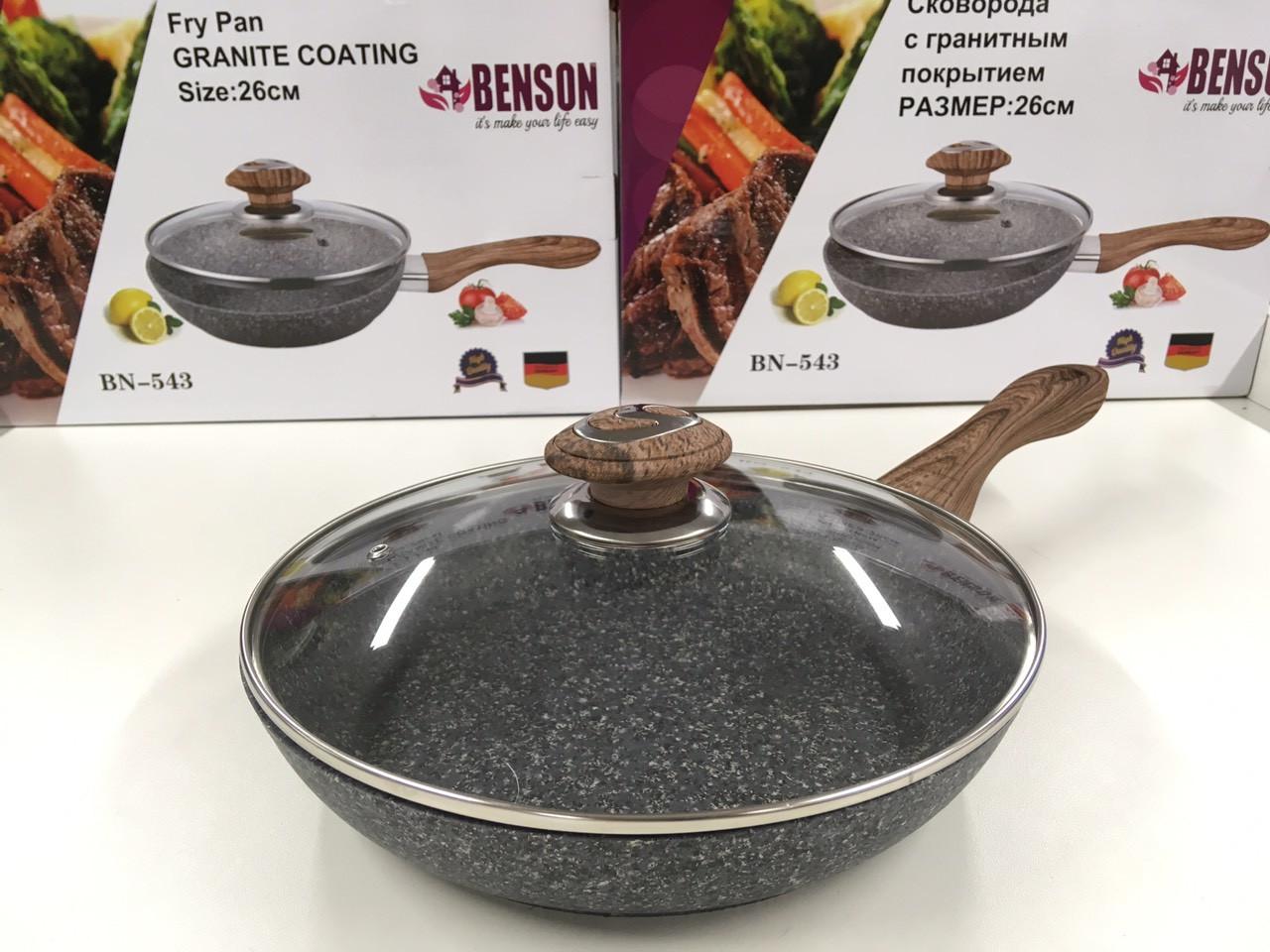 Сковородка с крыкой 26см гранитное покр. с серым  BENSON BN-543 (6 шт)