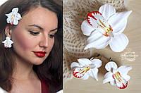 """Комплект  украшений с цветами ручной работы """"Белые орхидеи  с росписью"""", фото 1"""
