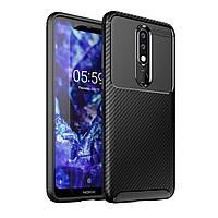 Чехол Carbon Case Nokia X5 / Nokia 5.1 Plus Черный