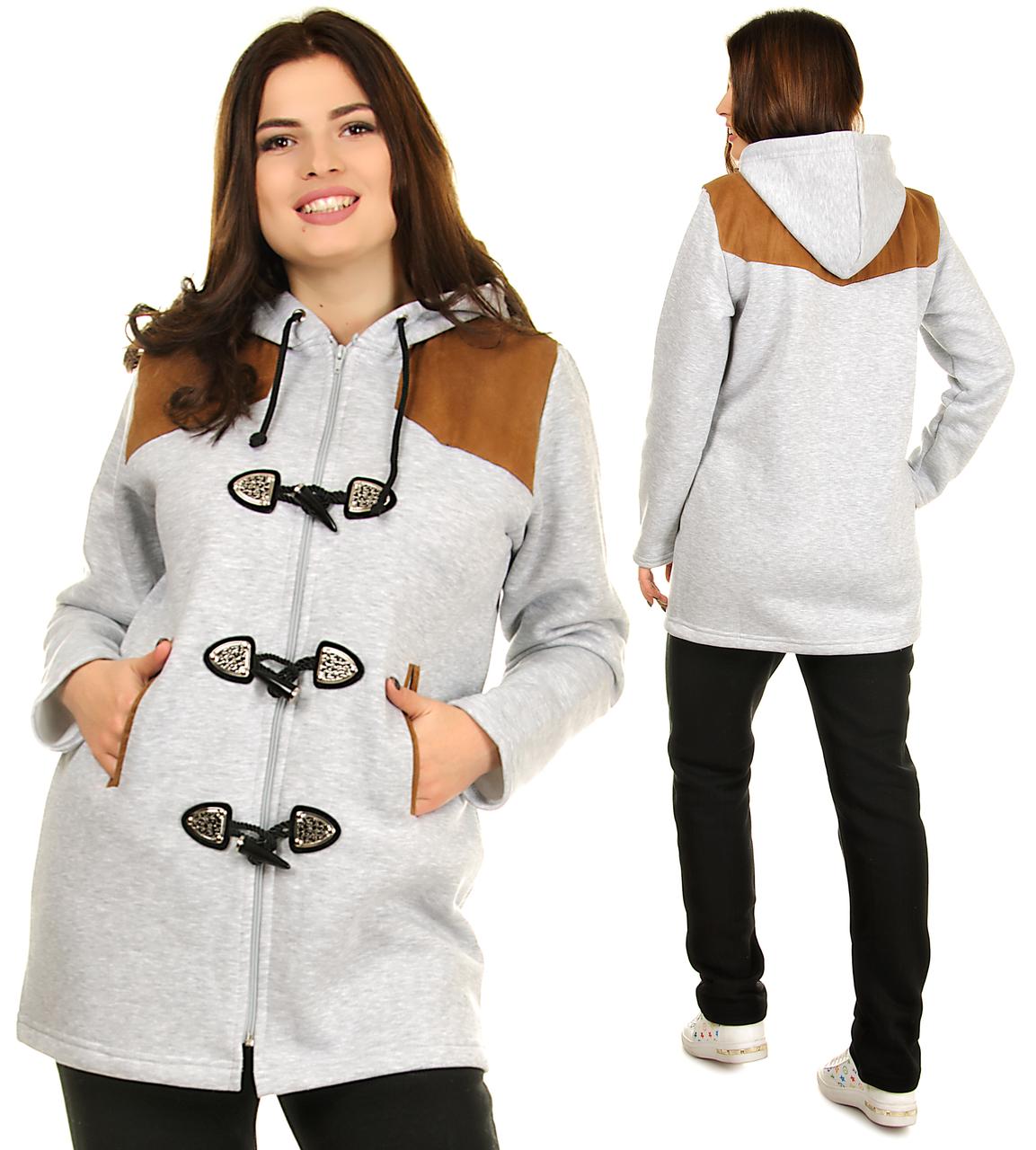 Зимний спортивный костюм женский батальный теплый с капюшоном (батал)