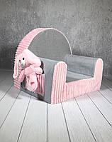 Мягкое кресло в детскую комнату «Funny colours», розово-серое с карманом