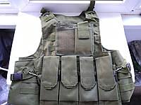 Разгрузочный жилет армейский разгрузка Амфибия 2 с Molle, 3 съемными подсумками. Цвет олива