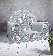 Мягкое кресло в детскую комнату «Funny colours», серое с лисичками