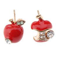 """Серьги женские """"Яблочки"""" - красные"""