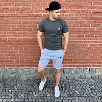 Комплект мужской футболка и шорты Under Armour в стиле Андер Армур, 100 % хлопок, код OS-0222. Темно-серые