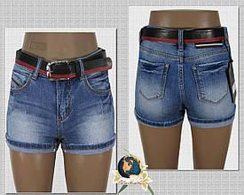Шорты женские джинсовые короткие Lady N голубого цвета с ремнём