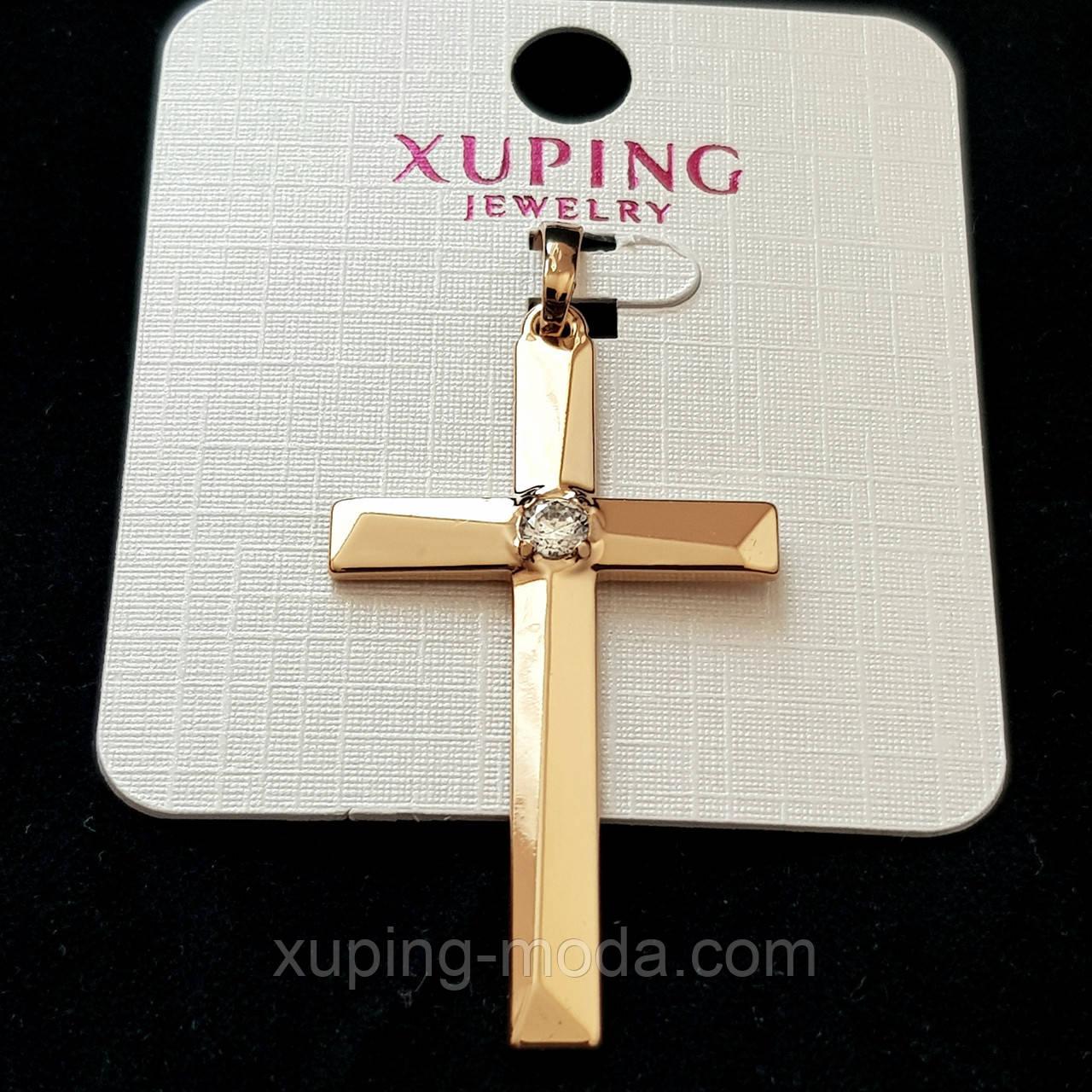 Кулон крест xuping  42х32 позолота 18к
