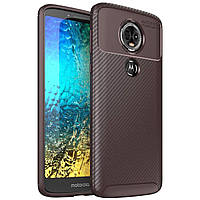 Чехол Carbon Case Motorola E5 Plus Коричневый