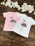 Футболка для девочки трикотажная фламинго