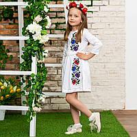 Нарядное детское платье вышиванка с цветочным узором Мальвы домотканое полотно