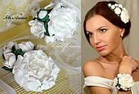 """""""Белые пионы"""" набор украшений ручной работы: браслет+гребень. , фото 1"""