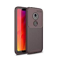 Чехол Carbon Case Motorola G7 Play Коричневый