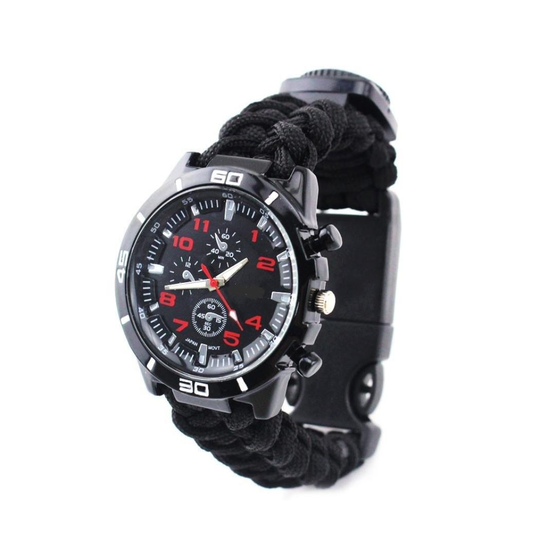 Часы браслет выживания Survial Paracord тактические black  компас, огниво, свисток, шнур 4 метра