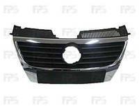Решетка VW Passat B6 хромированная черная рамка и накладка без отверстия (FPS)
