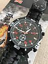 Часы браслет выживания Survial Paracord тактические black  компас, огниво, свисток, шнур 4 метра, фото 2