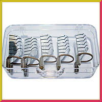 Формы для Наращивания Ногтей Многоразовые Серебро, Набор из 5 форм, Материалы для Наращивания Ногтей