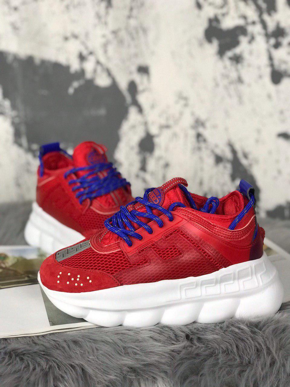 Женские кроссовки Versace Chain Reaction (Red/White), женские кроссовки Версачи, кроссовки версач