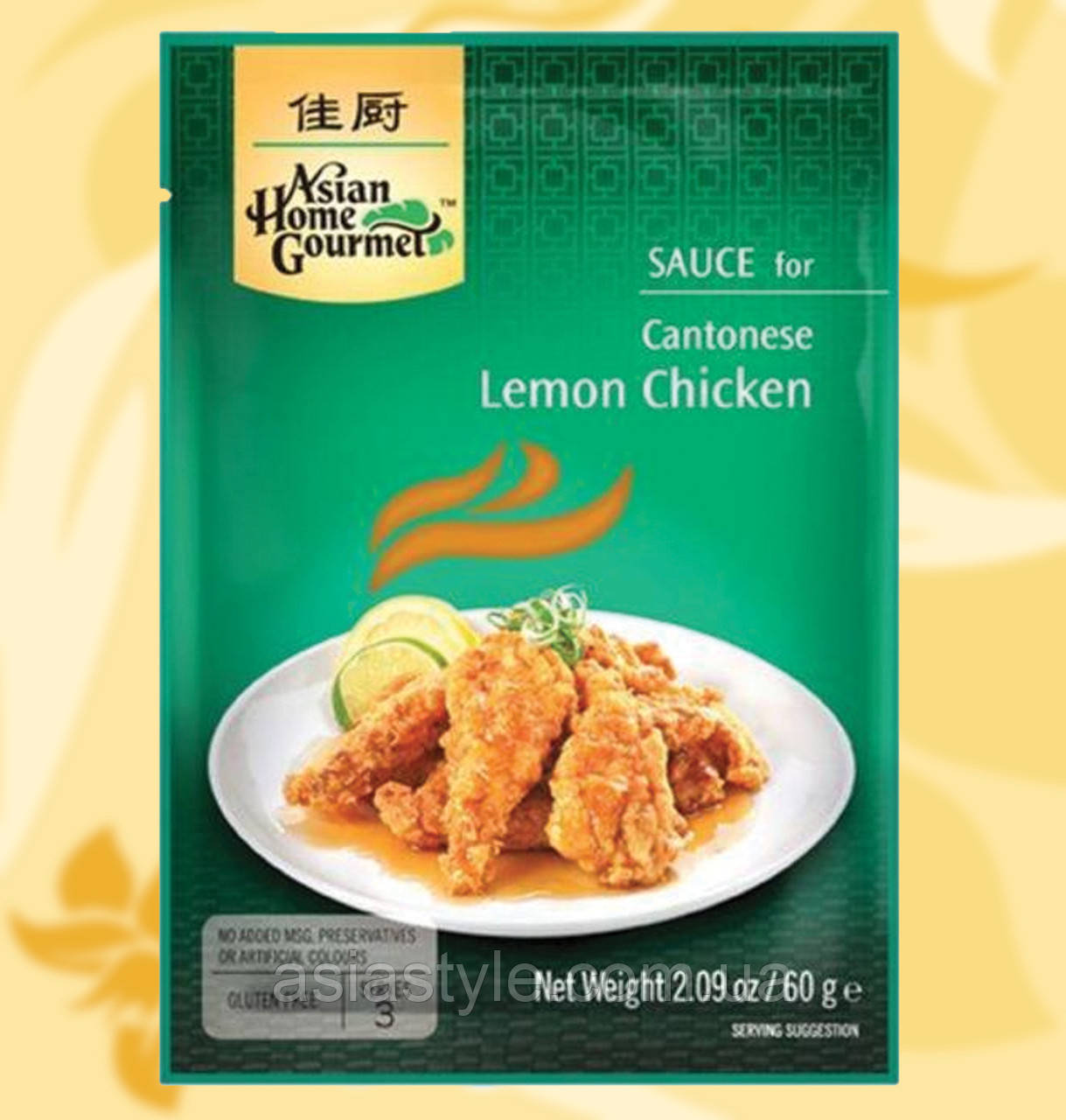 Маринад лимонний, для курки, Asian Home Gourmet, Cantonese Lemon Chicken,  50г, Дж