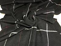 Объёмный чёрный тёплый шарф  в клетку для мужчин и женщин