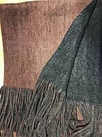 Объёмный двухсторонний очень тёплый шарф бордовый с серым