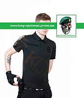 ТОЛЬКО ПРЕДОПЛАТА! Футболка поло Полиция тактическая потоотводящая coolmax черная black
