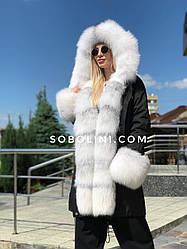 Парку з плащової тканини з арктичної лисицею