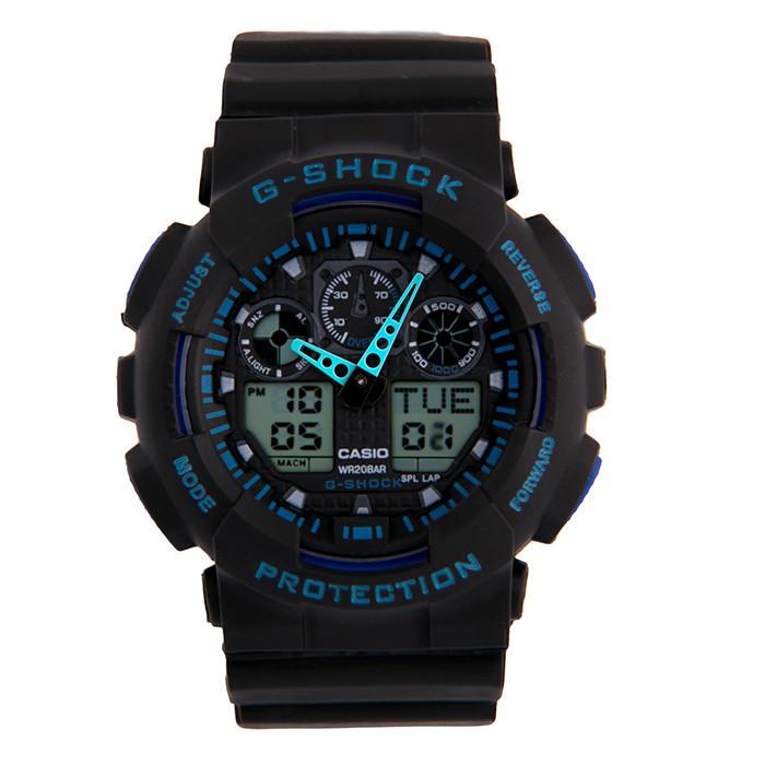 Мужские наручные часы Casio G-Shock GA-100 Черные з синим Копия