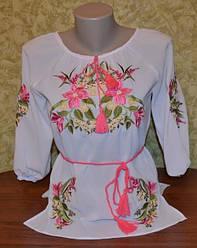 """Шифонова блузка з вишивкою """"Лілія"""""""