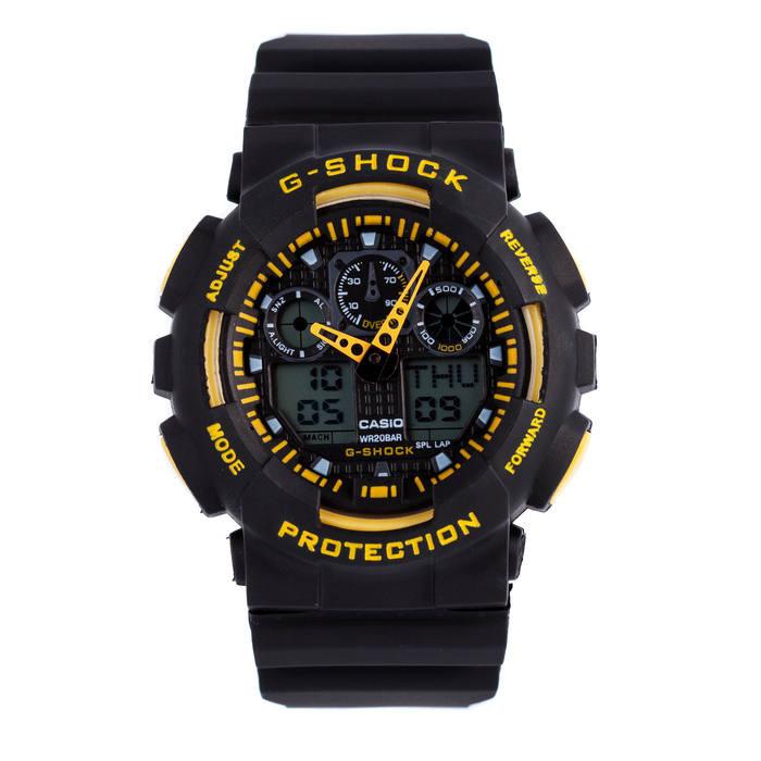 Мужские наручные часы Casio G-Shock GA-100 Черные с желтым Копия