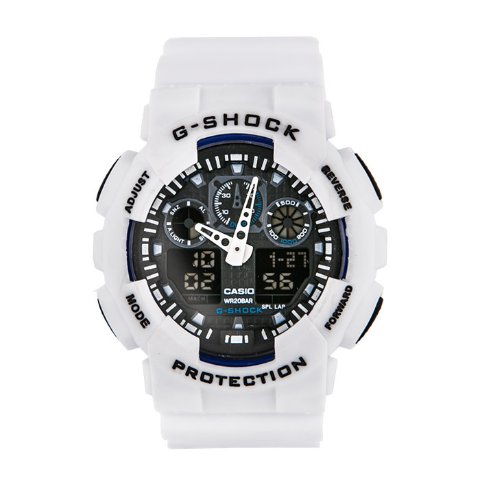 Мужские наручные часы Casio G-Shock GA-100 Белые с черным Копия
