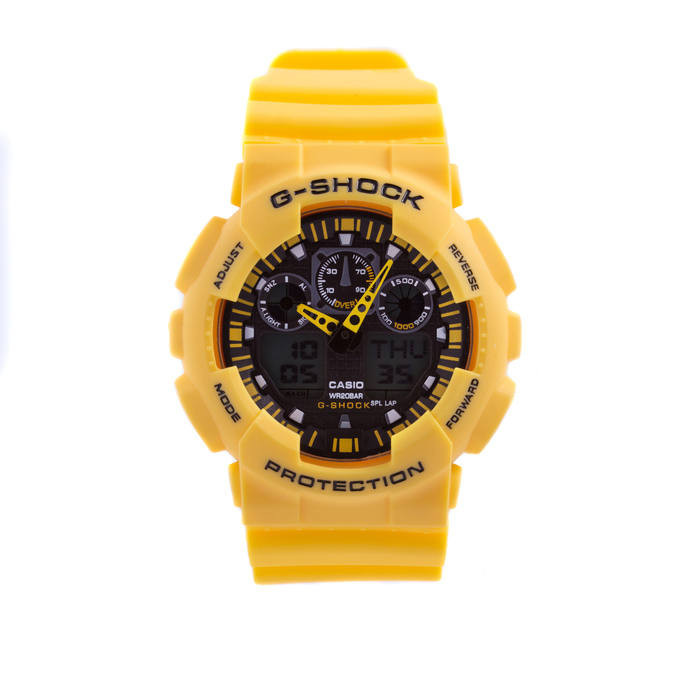 Мужские наручные часы Casio G-Shock GA-100 Желтые Копия