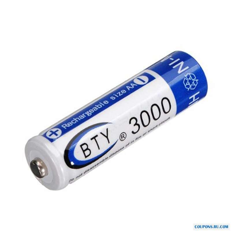 3000 mAh AA 2A Ni-MH 1,2 V аккумуляторная батарея перезаряжаемая 2 шт.