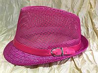 Малиновая детская шляпа сетка поля соломка для девочки размер 52 54