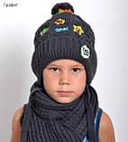 Зимовий теплий в'язаний шарф, фото 10